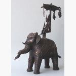 Ele. Bronze mit Reiter Indien